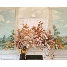#weddingdesign #weddingstyling #mantel Summer Wedding Flower Inspiration, Spring Wedding Flowers, Floral Wedding, Flower Ideas, Intimate Wedding Ceremony, Wedding Ceremony Backdrop, Flower Decorations, Wedding Decorations, Wedding Set Up