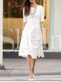 White Concert Half Sleeve Elbow Sleeve Flare Dress