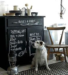 inspiration: first, the dog, and the chair and chalkboard cabinet (love this idea) Chalkboard Paint Furniture, Blackboard Paint, Chalkboard Decor, Painted Furniture, Chalkboard Dresser, Chalkboard Drawings, Chalkboard Lettering, Kitchen Blackboard, Painted Hutch