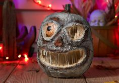 Craft Painting - Unique Halloween Pumpkin - Scary Concrete Pumpkin. Super Spooky and perfect for a Fall Haunted House!