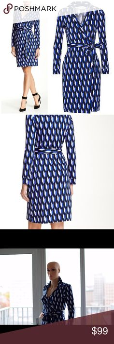 NWT $398 Diane Von Furstenberg Wrap Dress Classic DVF dress boldly printed with with tonal arrowheads and styled with a spread collar and long sleeves. Wrap construction with self tie closure. Very cute, super comfortable, and universally flattering! Diane von Furstenberg Dresses Long Sleeve