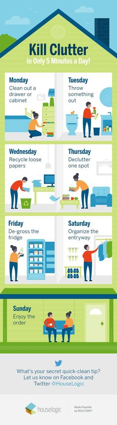 Make a schedule. That's all it takes to banish #clutter from your #home for good. Here's how to do it. #clutterstorage