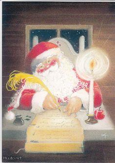 Kaarina Toivanen, Finland ~ Santa Making His List Christmas Clipart, Vintage Christmas Cards, Christmas Printables, Christmas Pictures, Christmas Drawing, Christmas Art, All Things Christmas, Dream Illustration, Christmas Illustration