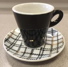 Black China Cappuccino Cups and Saucers