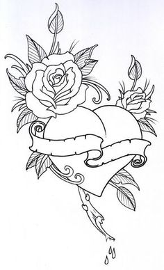 RoseHeart+Outline+1+by+vikingtattoo.deviantart.com+on+@DeviantArt