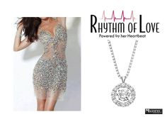 """Circle Shaped """"Rhythm of Love"""" Pendant and 1/2 ctw Set In 14K White Gold"""