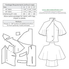 This beautiful vintage sewing pattern for a Capelet is from the The design is the star with an applied capelet over a sleeveless shell. Sewing Hacks, Sewing Tutorials, Sewing Crafts, Sewing Projects, Sewing Tips, Dress Tutorials, Free Sewing, Vintage Sewing Patterns, Clothing Patterns