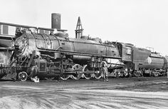Atlantic Coast Line 2-10-2 Santa Fe, Class Q-1, Steam Locomotive # 2018, seen in a railroad yard, possibly Acca Yard in Richmond