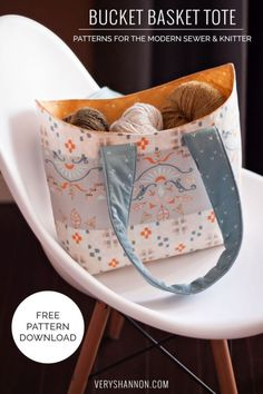 A free bucket basket tote sewing tutorial by veryshannon