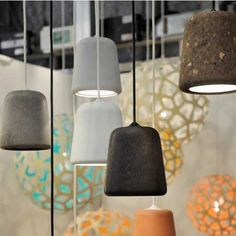 Lampshades made from multiple materials including: cork, marble, concrete, terra-cotta and timber. Lampshades from Danish Nevvvorks. Designed by Noergaard & Kechayas. Lamp Design, Lighting Design, Lighting Ideas, Diy Luminaire, Concrete Light, Ceramic Light, House Design Photos, Cool Lamps, Design Moderne