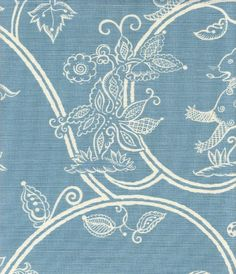 Little Animals Blotch Linen Fabric Aqua blue printed on oyster linen with animals and birds