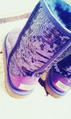Purple Sparkly Uggs (: