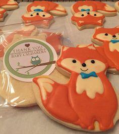 Woodlands Fox Baby Shower Favor cookies