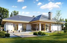 Projekt domu Uroczy 146,47 m2 - koszt budowy 254 tys. zł - EXTRADOM Free House Plans, Simple House Plans, House Layout Plans, Best House Plans, Bungalow Exterior, Bungalow Homes, Bungalow House Plans, African House, Flat Roof House