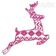 Deer Reindeer Aztec Embroidery Print