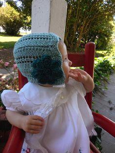 VINTAGE BABY BONNET Girls Baby Bonnet Spring Hand Knit Heirloom Lace Teal Blue 6 - 18 months Star Flower Hat Embellished Retro Flower