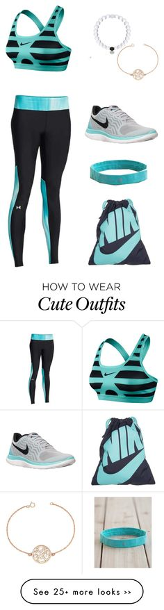 """""""Simple Cute Workout Outfit"""" by hanahpeep on Polyvore featuring Under Armour, NIKE, BaubleBar and lululemon"""
