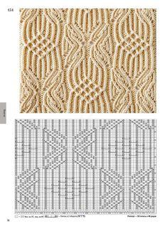 Ажурный узор спицами. Шикарный свитер | Вязаные Идеи. Lace Knitting Stitches, Cable Knitting Patterns, Knitting Books, Knitting Charts, Knitting Designs, Knit Patterns, Knitting Projects, Stitch Patterns, Pattern Books