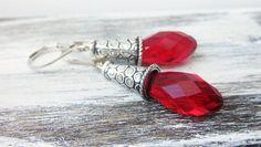 Art Deco Earrings Red Crystal Earrings by DiscoLemonadeDesigns, $19.99
