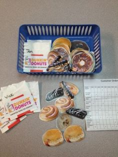 Filling customer orders task/donuts--I could make this into a work job type of thing....very functional....maybe use McDonald's foods or someplace we go for community skills.