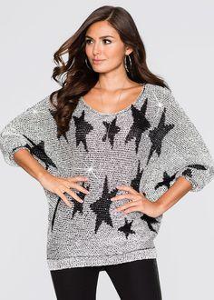 Эффектная модель на любой случай: сверкающий пуловер прекрасного дизайна со звездочками и вшитыми пайетками! Мягкий материал гарантирует приятный комфорт. Отлично смотрится с узкими джинсами и туфлями на шпильке! Длина ок. 72 см (разм. 36/38).