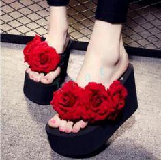 Womens 11 Cm Platform Flip Flops Flowers Beach Shoes Wedges High Heels Sandals