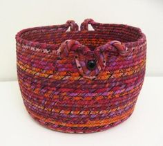 See McGettDM's Projects on Craftsy | Support Unique. Buy Indie. Fabric Crafts, Sewing Crafts, Sewing Projects, Sewing Ideas, Rope Basket, Basket Weaving, Making Baskets, Coil Pots, Fabric Bowls