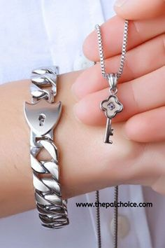of stainless steel jewelry sets Love Heart Lock Bracelets Bangles Key pendant Couple Nec. Pair of stainless steel jewelry sets Love Heart Lock Bracelets Bangles Key pendant Couple Necklace,Pair of stainless steel jewelry se. Couple Necklaces, Couple Jewelry, Couple Bracelets, Key Bracelet, Key Necklace, Bangle Bracelets, Pendant Necklace, Heart Jewelry, Jewelry Sets