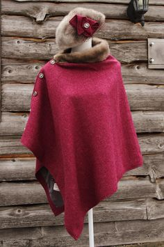 Harris Tweed Raspberry & Silver Vintage Mink Cape