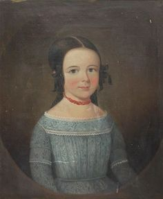 Artwork by American School, 19th Century, PORTRAIT OF HELEN LANGDON MERRELL, Made of Oil on canvas