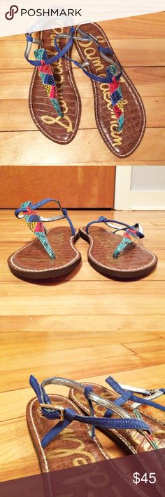 Sam Edelman Gigi Turquoise Snake T Strap Sandals Adorable, colorful sandals!  Leather upper, balance manmade. Brand new.  Thank you for looking! Sam Edelman Shoes Sandals