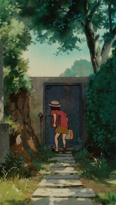 Whisper of the Heart - I really like how the door is locked, but Shizuku jumped over it anyway and found a new world