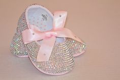 baby Swarovski Rhinestones ballet shoes, 0-12 month (Rainbow color). $95.00, via Etsy.