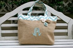 Just got my order of this....so beyond amazed at how cute and roomy itmis! Blue Chevron and Burlap Beach Tote Custom by 3littlemustardseeds, $30.95