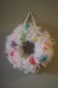 How stinking cute is this!? feather boa wreath with eggs for easter
