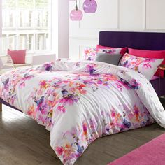 Nola Watercolour Floral Print Duvet Set, Pink