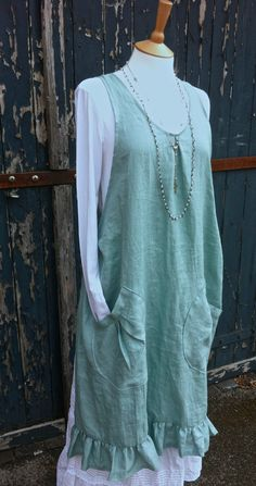 Linen Slip on Apron with Slouch Pockets. Duck Egg / Sage. Oversized low slung slouch pocket. Freesize
