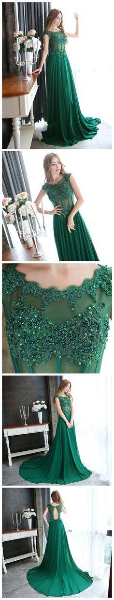CHIC DRESS,GREEN PROM DRESS,A-LINE SCOOP APPLIQUE CHIFFON,PROM DRESS EVENING DRESS AM983 #amyprom #fashion #love #formaldress #beautifuldress #longpromdress #modest