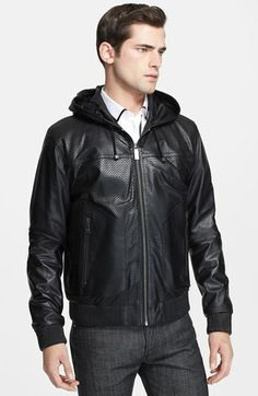 Jil Sander Lambskin Leather Hooded Bomber Jacket available at ...