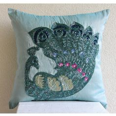 Designer Blue Decorative Pillow Cover 16x16 Silk by TheHomeCentric
