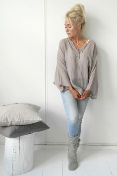 JUNE Linen poncho, TAUPE - BOHEMIANA - BYPIAS