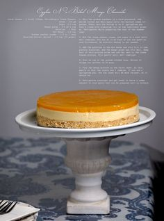 No Bake Mango Cheesecake - definitely going to have to make this during the hot summer months. no baking means my apartment will still be hot but not as hot as the oven