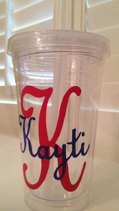 tumbler custom monogrammed personalized cup straw gift for sister braves fan navy blue and red polka dots