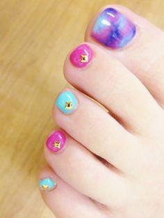 nail art design for toe nail, pedicure, colorful, pink, blue green, gold stone #toenail #nailart