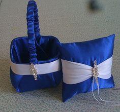 Royal Blue Horizon Satin with White Flower girl basket and pillow Royal Blue Bridesmaid Dresses, Royal Blue Dresses, Blue Wedding Dresses, Purple Wedding, Wedding Colors, Flower Girl Dresses, Wedding Ideas, Royal Blue Wedding Cakes, Royal Blue Weddings