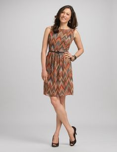Chevron Print Dress---love the fall colors!! sku 037674