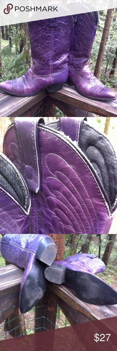 Plum cowboy boots Plum purple cowboy boots, nice broidery ,loop on, two inch heels, lots of wear left in these... Alfred posh on girlfriend;) Shoes Heeled Boots