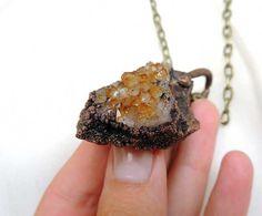geometric necklace geometric druzy stone raw citrine by MARIAELA, $49.00