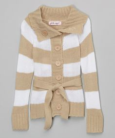 Love this Burlywood & White Stripe Belted Duster - Girls on #zulily! #zulilyfinds