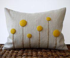 Yellow Billy Ball Flower Pillow in Natural Linen by JillianReneDecor Craspedia Billy Button Botanical Home Decor Spring Wedding Marigold